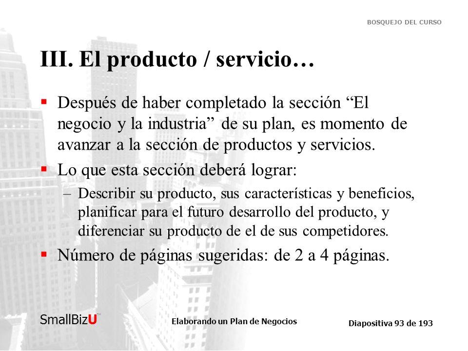 III. El producto / servicio…