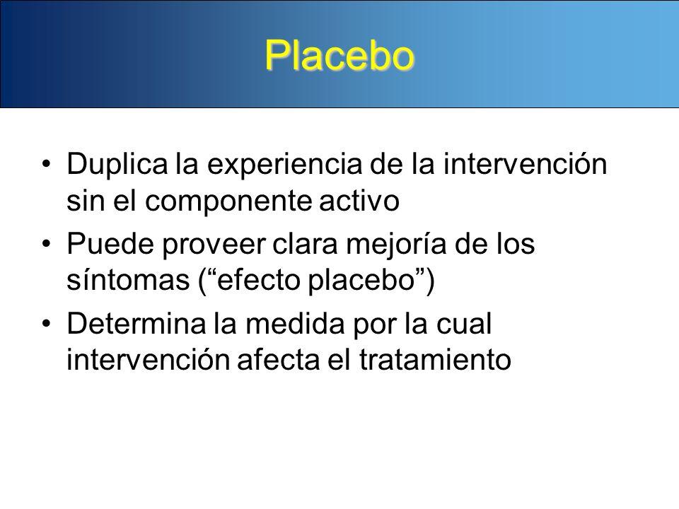 Placebo Duplica la experiencia de la intervención sin el componente activo. Puede proveer clara mejoría de los síntomas ( efecto placebo )
