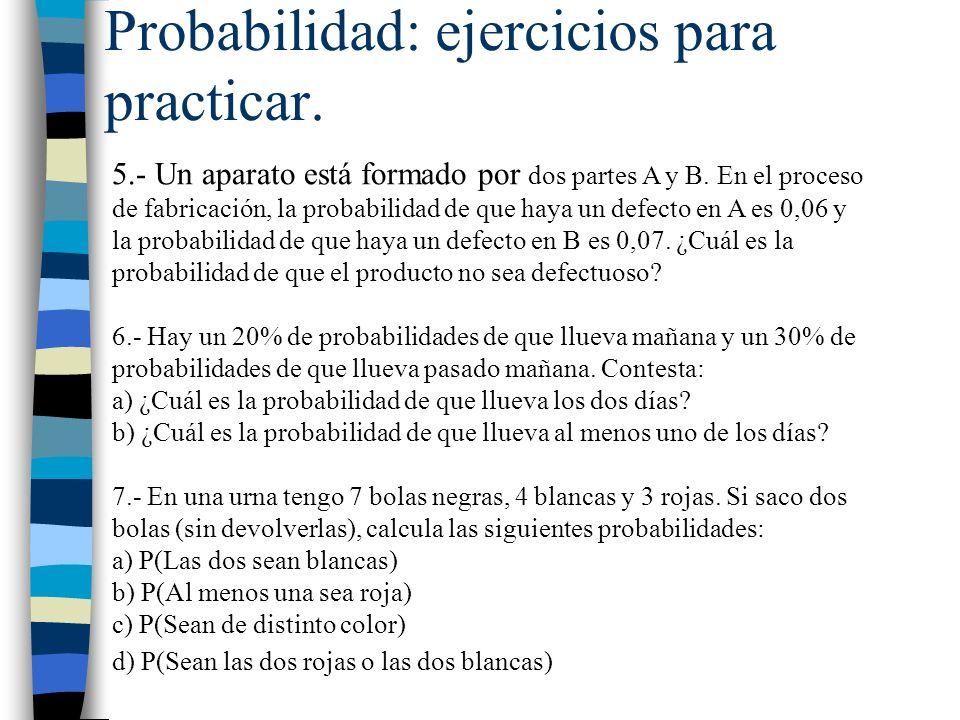 Probabilidad: ejercicios para practicar.