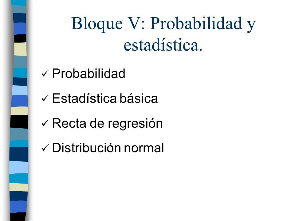 Bloque V: Probabilidad y estadística.