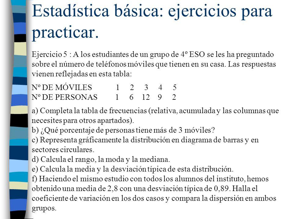 Estadística básica: ejercicios para practicar.