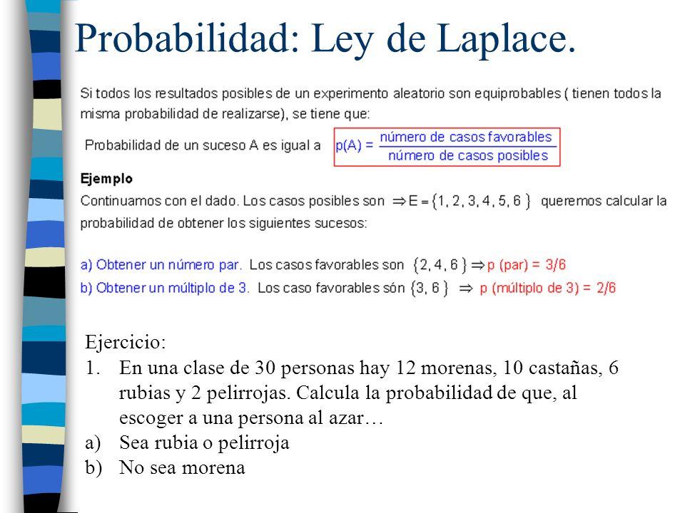 Probabilidad: Ley de Laplace.