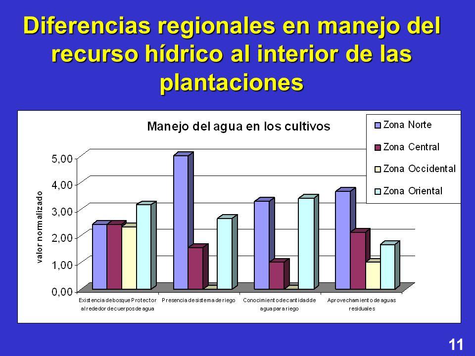 Diferencias regionales en manejo del recurso hídrico al interior de las plantaciones