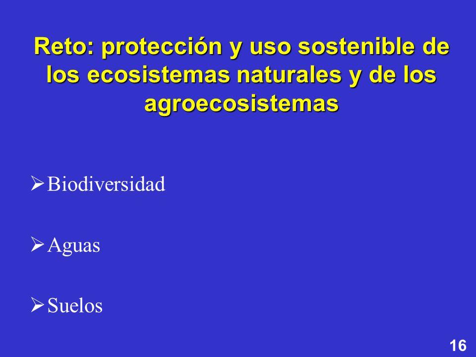 Reto: protección y uso sostenible de los ecosistemas naturales y de los agroecosistemas