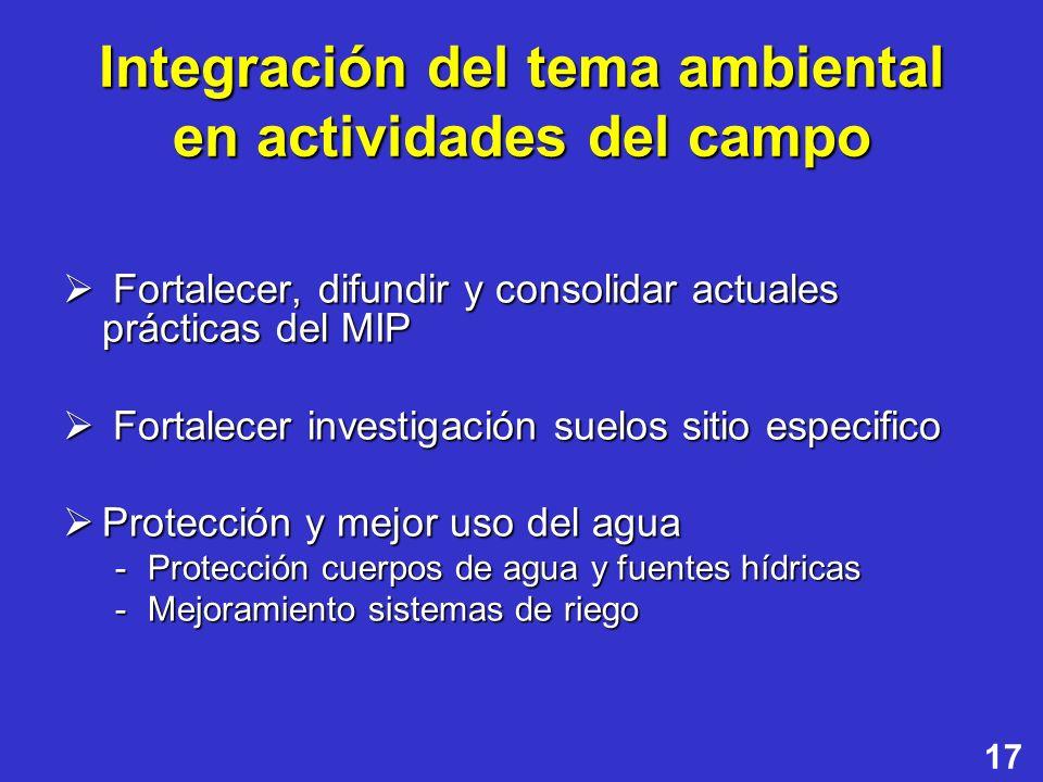 Integración del tema ambiental en actividades del campo