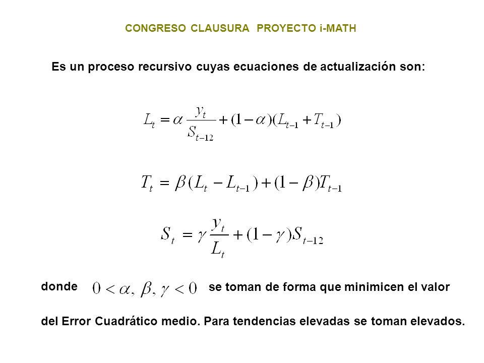 Es un proceso recursivo cuyas ecuaciones de actualización son: