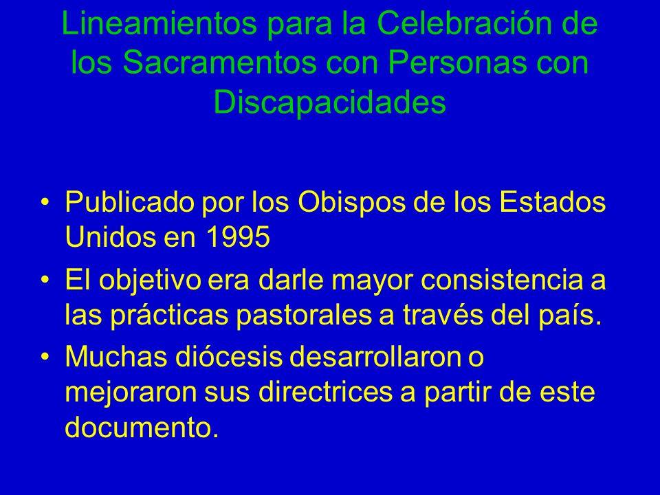 Lineamientos para la Celebración de los Sacramentos con Personas con Discapacidades