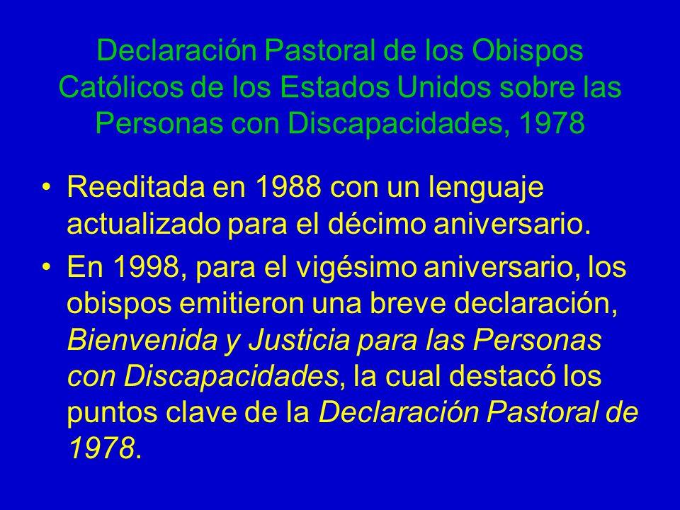 Declaración Pastoral de los Obispos Católicos de los Estados Unidos sobre las Personas con Discapacidades, 1978