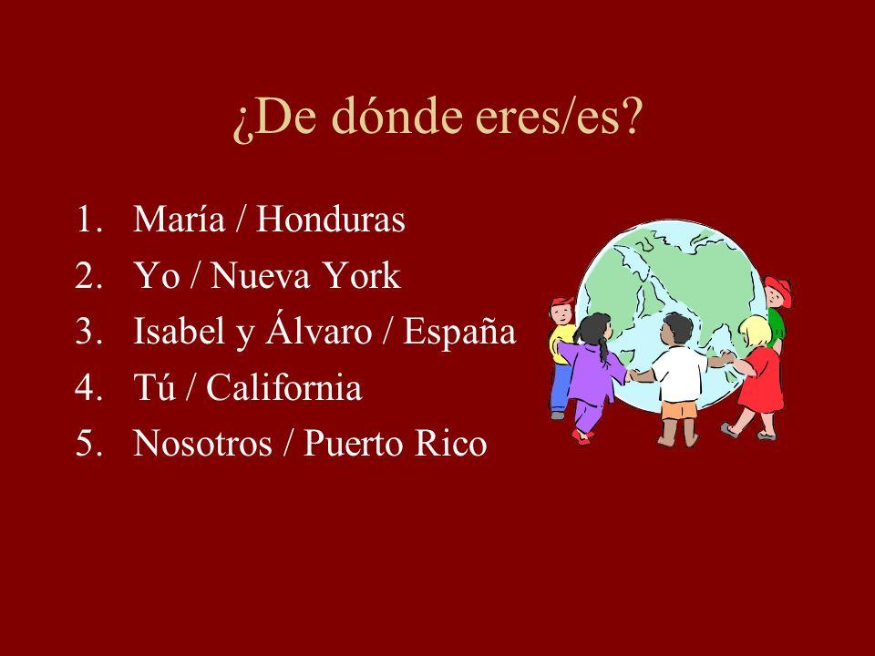 ¿De dónde eres/es María / Honduras Yo / Nueva York