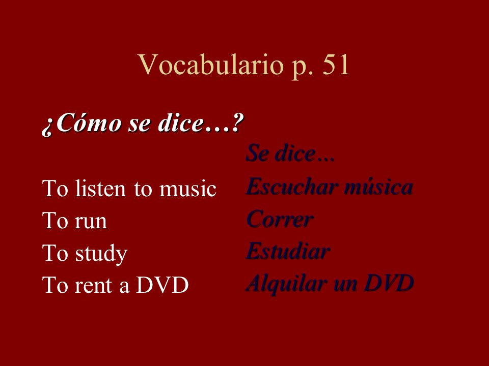 Vocabulario p. 51 ¿Cómo se dice… Se dice… To listen to music