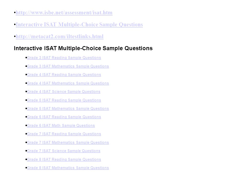 Interactive ISAT Multiple-Choice Sample Questions