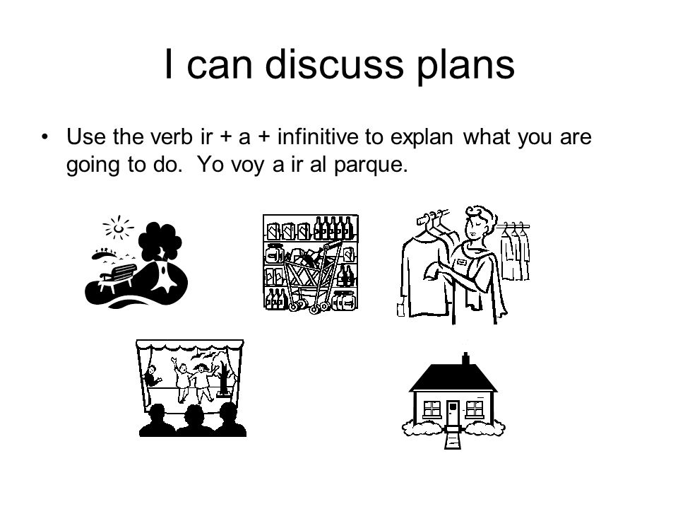 I can discuss plans Use the verb ir + a + infinitive to explan what you are going to do.