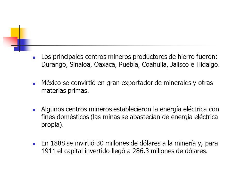 Los principales centros mineros productores de hierro fueron: Durango, Sinaloa, Oaxaca, Puebla, Coahuila, Jalisco e Hidalgo.