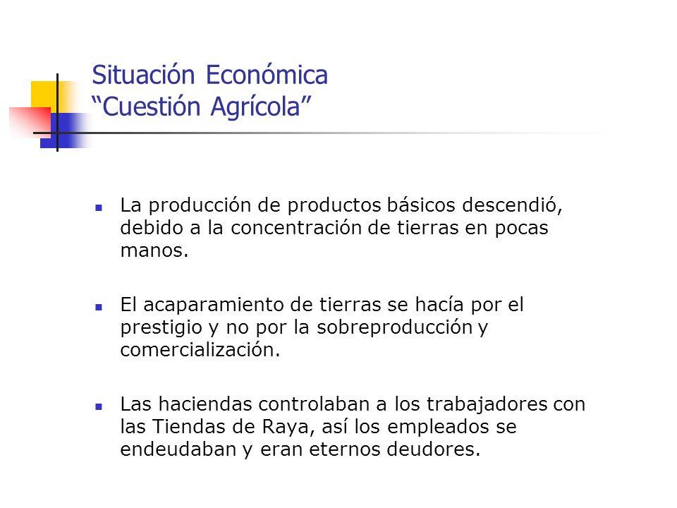 Situación Económica Cuestión Agrícola