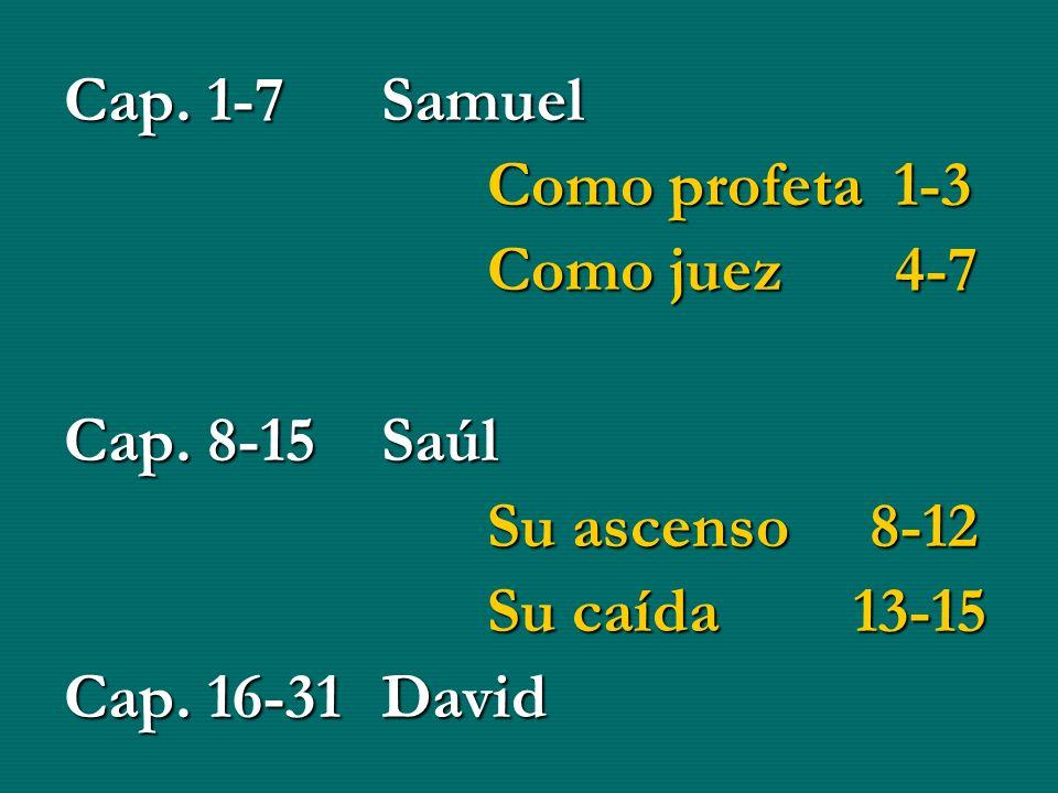 Cap. 1-7 Samuel Como profeta 1-3. Como juez 4-7. Cap. 8-15 Saúl. Su ascenso 8-12. Su caída 13-15.