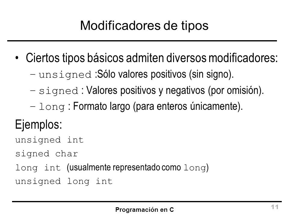 Modificadores de tipos