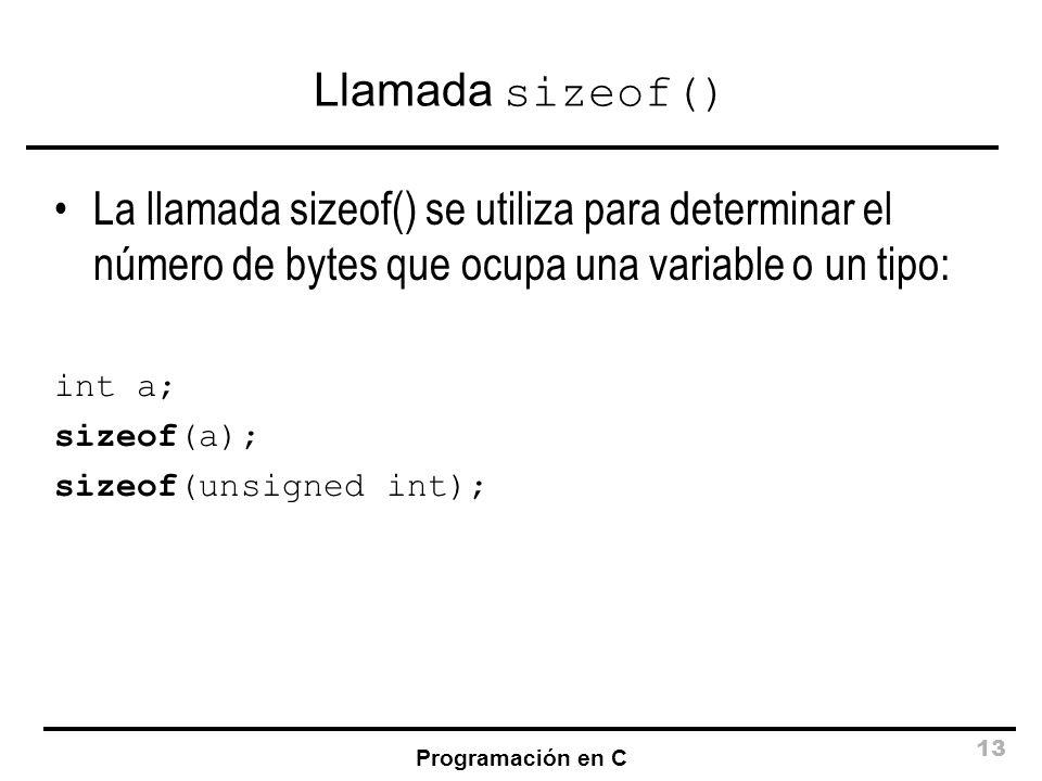 Llamada sizeof() La llamada sizeof() se utiliza para determinar el número de bytes que ocupa una variable o un tipo: