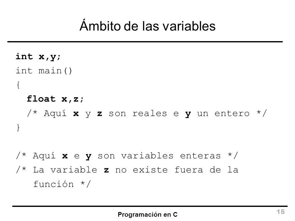 Ámbito de las variables