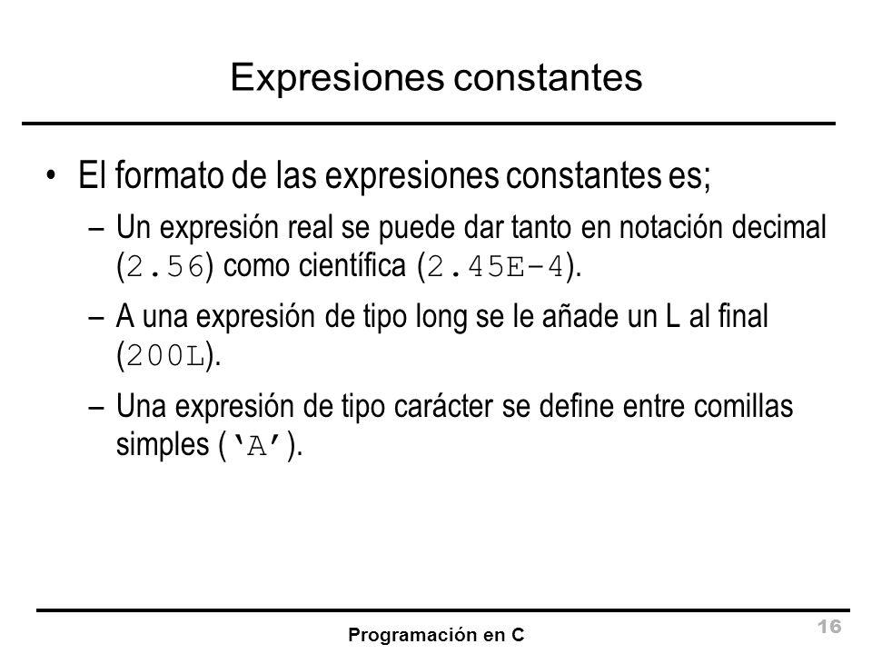 Expresiones constantes