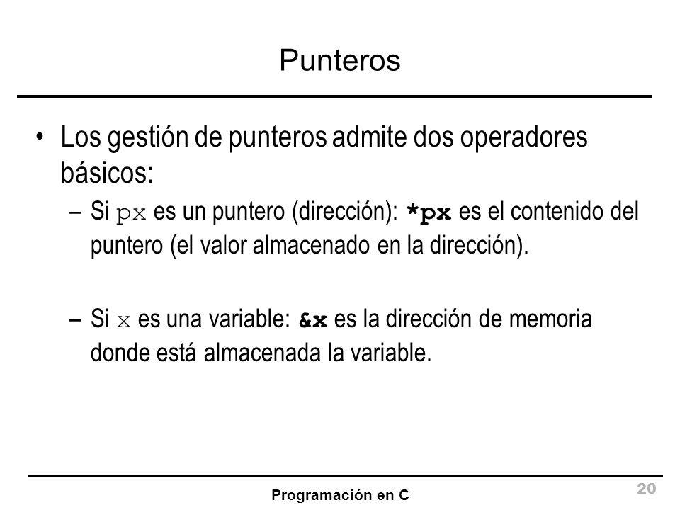 Los gestión de punteros admite dos operadores básicos: