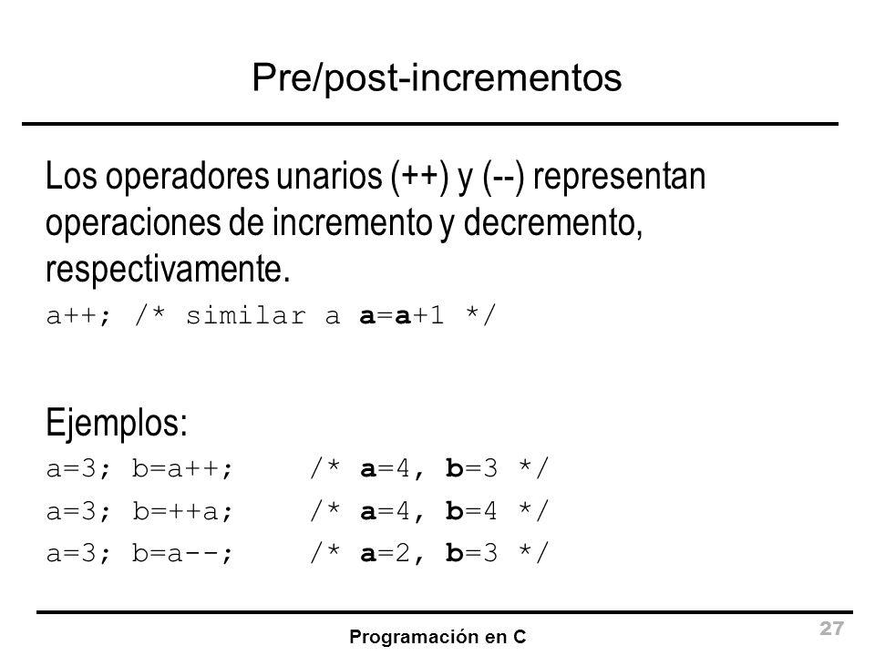 Pre/post-incrementos