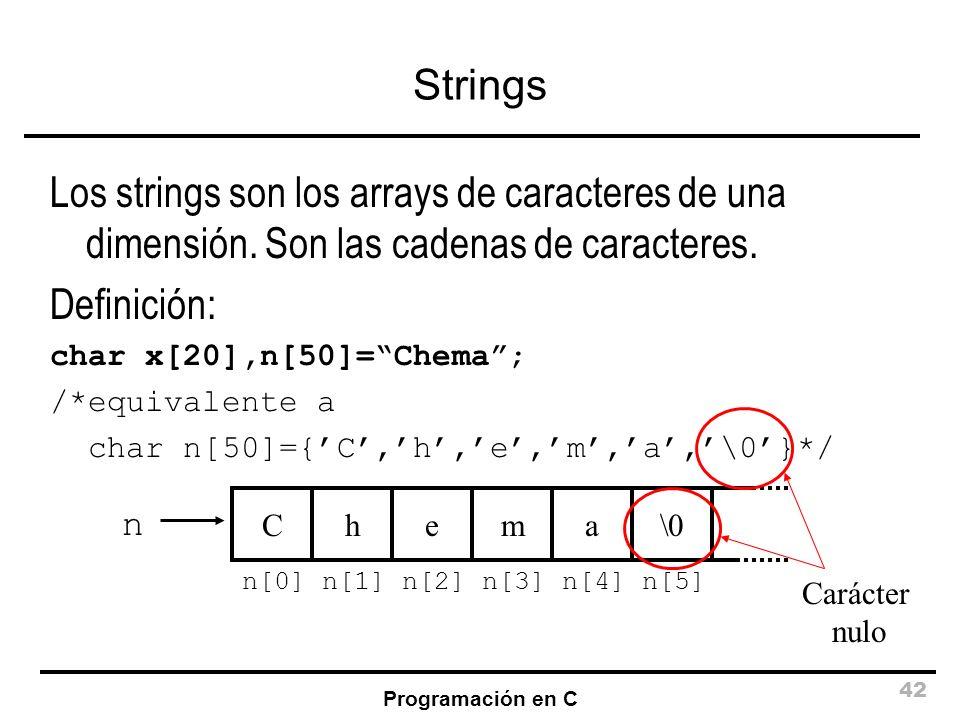 Strings Los strings son los arrays de caracteres de una dimensión. Son las cadenas de caracteres. Definición: