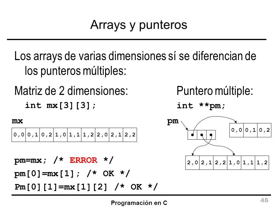 Matriz de 2 dimensiones: Puntero múltiple: