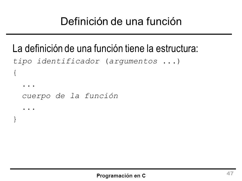 Definición de una función