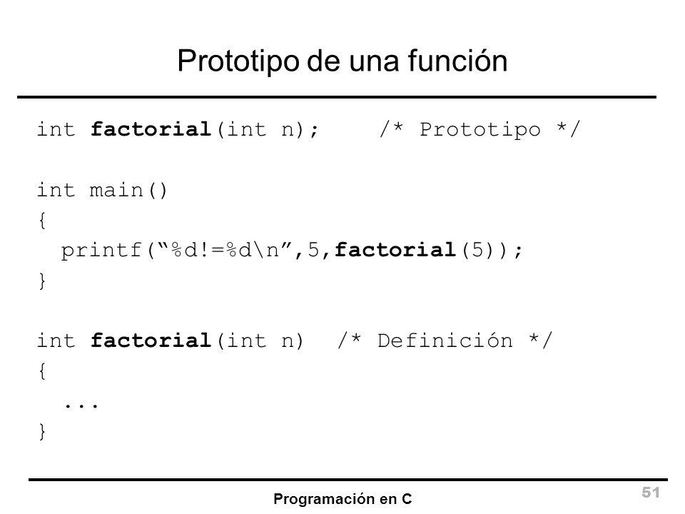 Prototipo de una función