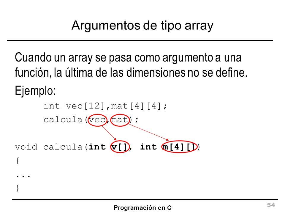 Argumentos de tipo array