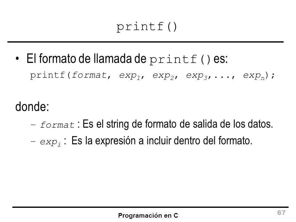 El formato de llamada de printf()es: