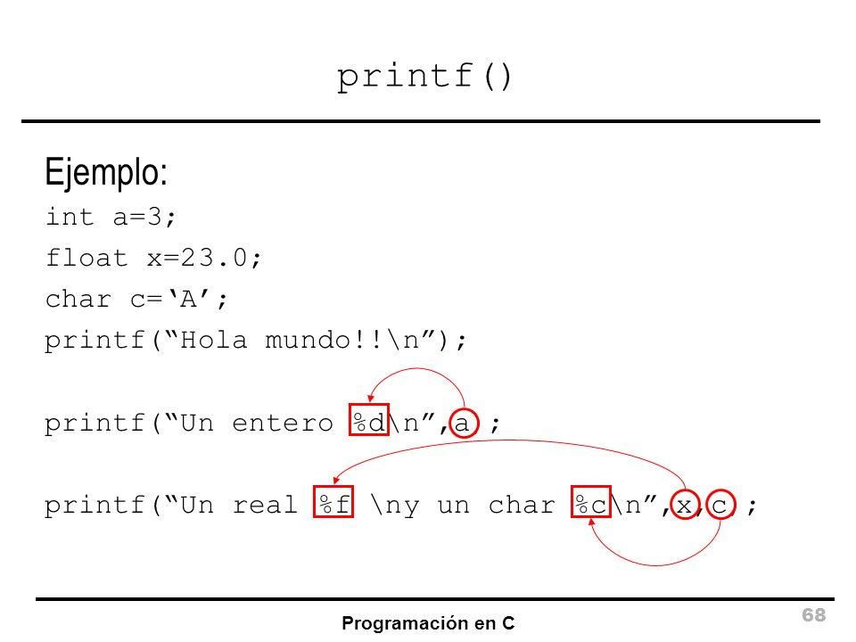printf() Ejemplo: int a=3; float x=23.0; char c='A';