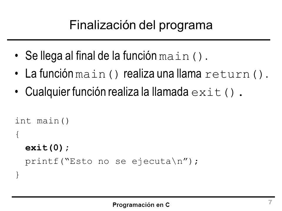Finalización del programa