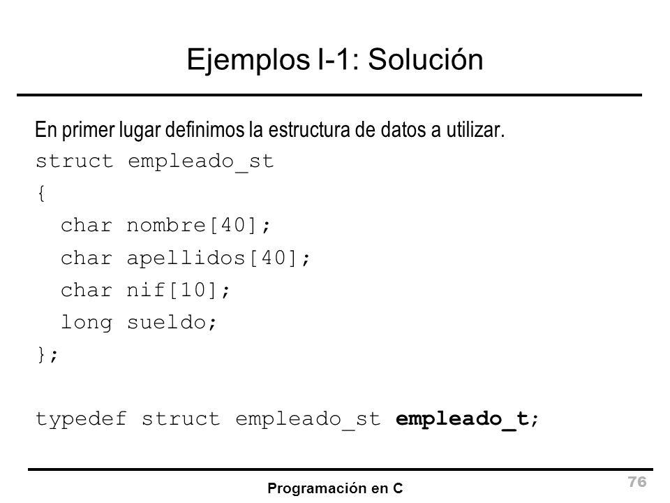 Ejemplos I-1: Solución En primer lugar definimos la estructura de datos a utilizar. struct empleado_st.