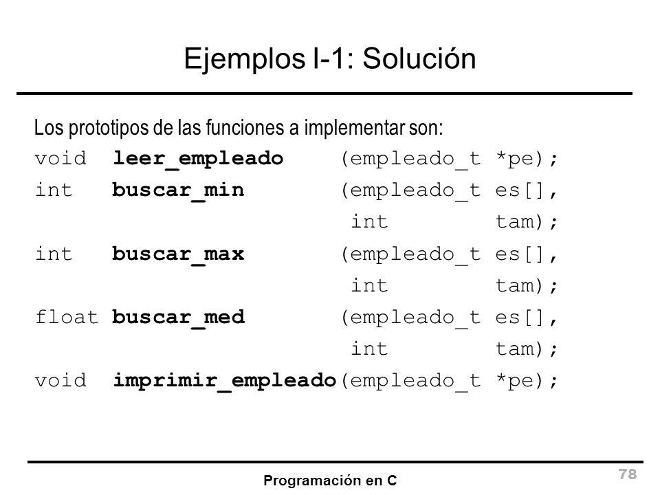 Ejemplos I-1: Solución Los prototipos de las funciones a implementar son: void leer_empleado (empleado_t *pe);