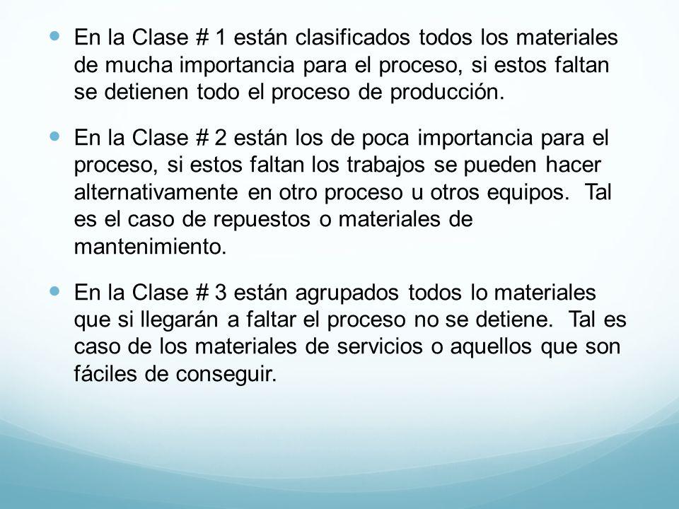 En la Clase # 1 están clasificados todos los materiales de mucha importancia para el proceso, si estos faltan se detienen todo el proceso de producción.