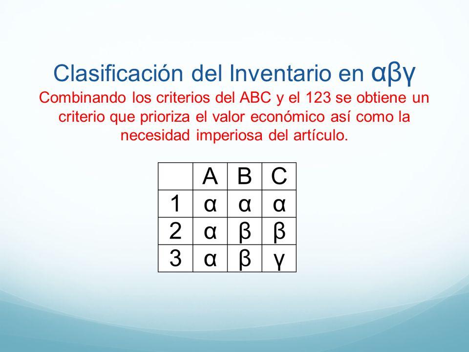 Clasificación del Inventario en αβγ Combinando los criterios del ABC y el 123 se obtiene un criterio que prioriza el valor económico así como la necesidad imperiosa del artículo.
