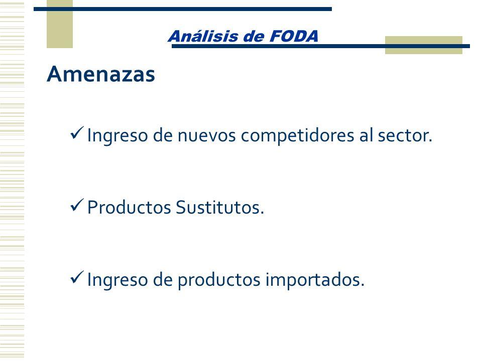 Amenazas Ingreso de nuevos competidores al sector.