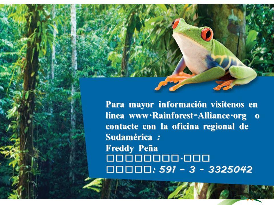 Para mayor información visítenos en línea www. Rainforest-Alliance