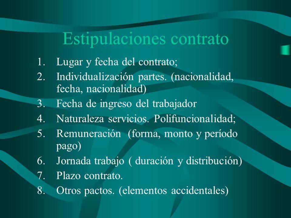 Estipulaciones contrato