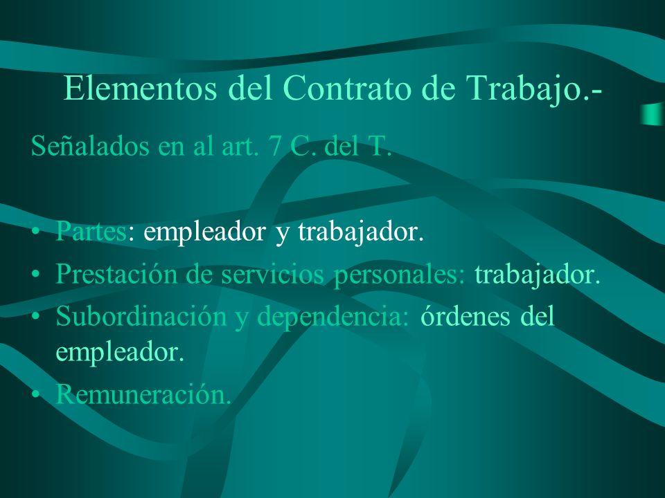 Elementos del Contrato de Trabajo.-