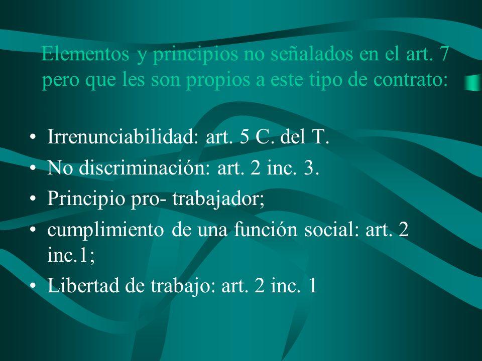 Elementos y principios no señalados en el art
