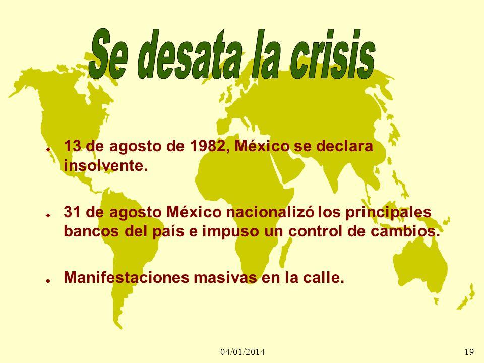 Se desata la crisis13 de agosto de 1982, México se declara insolvente.
