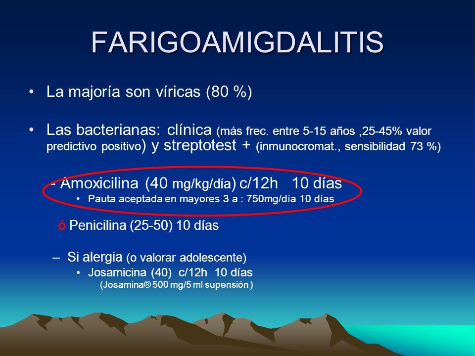 FARIGOAMIGDALITIS La majoría son víricas (80 %)