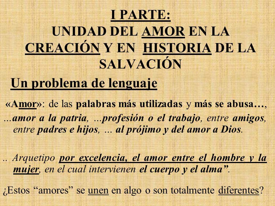 I PARTE: UNIDAD DEL AMOR EN LA CREACIÓN Y EN HISTORIA DE LA SALVACIÓN