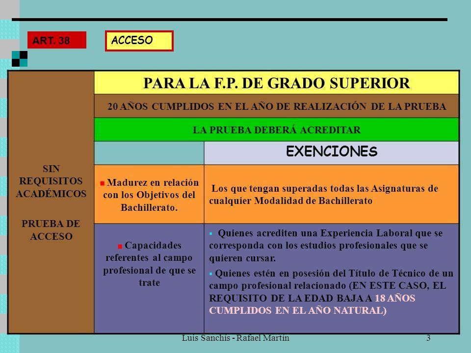 PARA LA F.P. DE GRADO SUPERIOR