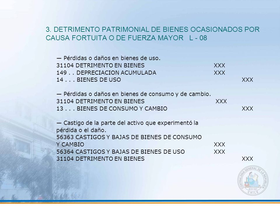 3. DETRIMENTO PATRIMONIAL DE BIENES OCASIONADOS POR CAUSA FORTUITA O DE FUERZA MAYOR L - 08