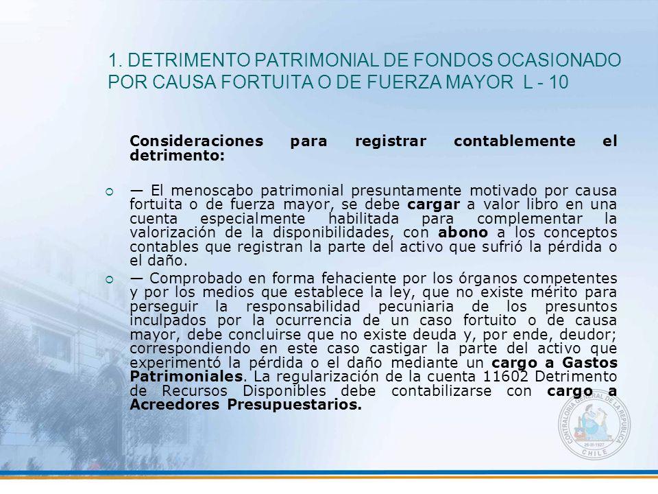 1. DETRIMENTO PATRIMONIAL DE FONDOS OCASIONADO POR CAUSA FORTUITA O DE FUERZA MAYOR L - 10