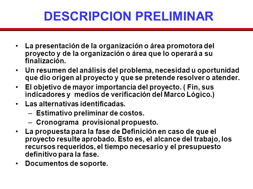 DESCRIPCION PRELIMINAR