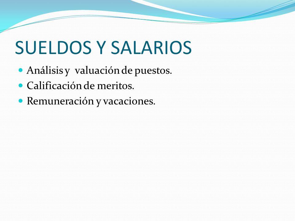SUELDOS Y SALARIOS Análisis y valuación de puestos.